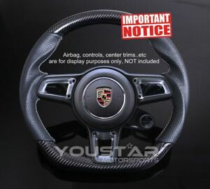 D Type Genuine Carbon Steering Wheel For Porsche 911 Boxster Cayman 991 Macan