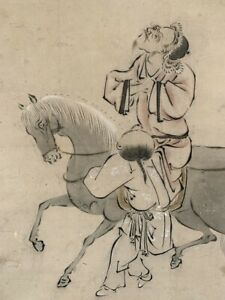 Hanging Scroll Japanese Painting Japan Man Person Picture Horse Antique E421