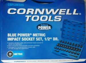 32 Pc Metric Impact Socket Set 1 2 Dr Cornwell Tools Cbpi3m32s