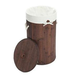Bamboo Laundry Hamper Round Basket Clothes Storage Bag Sorter With Lid Brown
