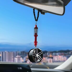 Car Pendant Wheel Mirror Hanging Ornament With Shock Absorber Rear Decorations