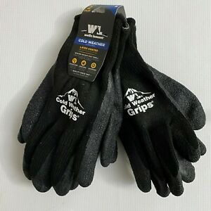 Wells Lamont Cold Weather Grips Latex Coated Work Gloves Large Black 4 Pair