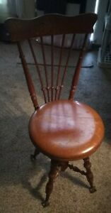 Ant Wooden Adjustable Piano Stool Chair Glass Ball Claw Feet High Back 1800s