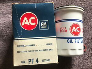 Nos 60 69 Corvair Ac Gm Oil Filter Pf4 No 5575538 White Red Letter