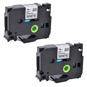 2 Pk Tze241 Tz241 3 4 Black On White Label Tape 18mm For Brother P touch Print
