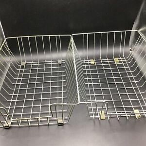 2 Vintage Metal Wire Desk Baskets Trays Deep In Out Boxes Organizers 14 5x9x4 5