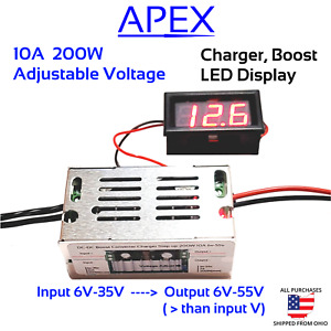 200w Dc 10a Boost Converter Battery Charger Step up Power 6v 55v Lifepo4 Li ion