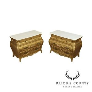 French Rococo Style Vintage Pair Gold Bombe Chests White Marble Tops