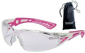 Bolle 40254 Rush Small Safety Glasses Pink white Temples Clear Anti fog Lens