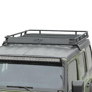 Fit For 2018 2021 Jeep Wrangler Jl Roof Rack Cargo Basket W Wind Fairing
