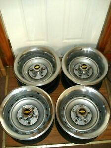 Set 4 Chevrolet Truck 15x8 Rally Wheels 5 Lug Gm Bands Centers