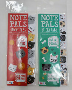 Ooly Note Pals Sticky Tabs Set Of 2 Cuddly Kitties And Darling Doggies