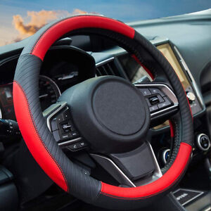 Red Black Leather Car Steering Wheel Cover Pu Universal Fit 38cm 15 Inches