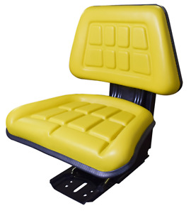 Universal Replacement John Deere Tractor Seat With Slides And Suspension Yellow