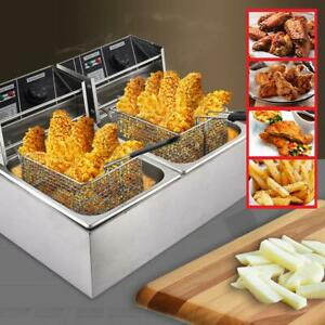 8l 8l Double Cylinder Double Screen Electric Fryer Food Stainless Steel 110v Us