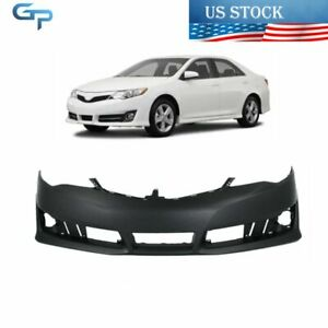 New Primered To1000379 Front Bumper Cover Fascia For 2012 13 14 Toyota Camry Se