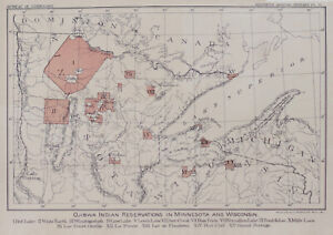 ojibwa Indian Reservations In Minnesota Wisconsin Map C 1885 Red Lake Etc