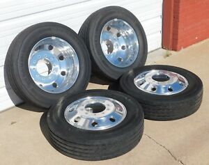 19 5 Ford F450 F550 Dodge Ram 4500 5500 Polished Alloy Wheels Tires Set Of 4