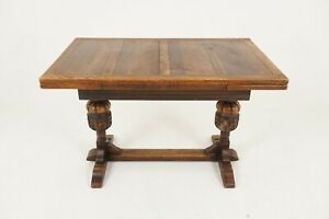 Vintage Oak Refectory Table Draw Leaf Writing Table Scotland 1930 B2124