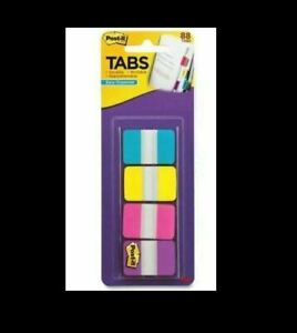 Post it Tabs 1 Wide Solid Assorted Colors 88 Tabs pack 686 aypv1in