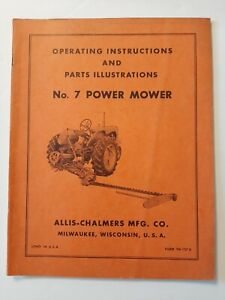 1960 s Allis Chalmers No 7 Power Snap Coupling Sickle Mower Owners Parts Manual
