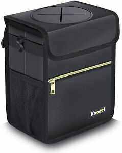 Car Truck Trash Can Hanging Auto Garbage Bag W Storage Pockets Lid Small Black