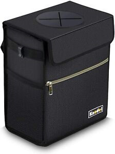 Car Truck Trash Can Hanging Auto Garbage Bag W Storage Pockets Lid Large Black