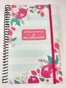 Bill Organizer Home Finance Book Monthly Pockets Blue Pink Flowers New