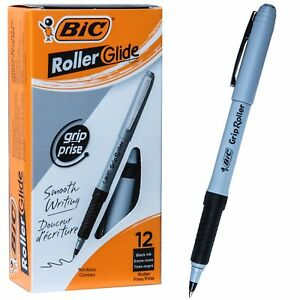 Bic Grip Roller Glide Gre11 31203 Black Ink 0 7mm Fine Point Box Of 12 Pens