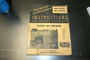 Mm avery Ma Mower Instructions service Parts List Manual Form R200 3m 4 52 G I