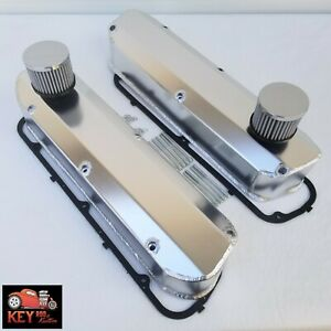 Small Block Ford Fabricated Satin Aluminum Valve Covers 289 302 351w Breathers