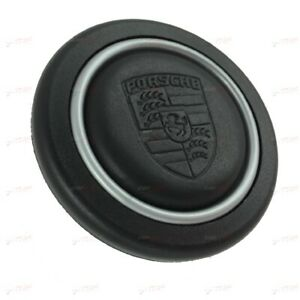 Leather Embossed Porsche Crest Horn Button Silver