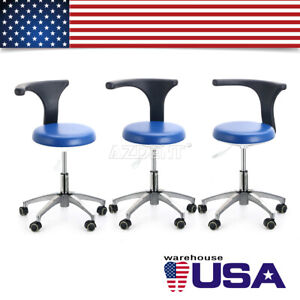 3x Dental Adjustable Mobile Chair Stool Assistant Rolling Stool Pu Leather 21