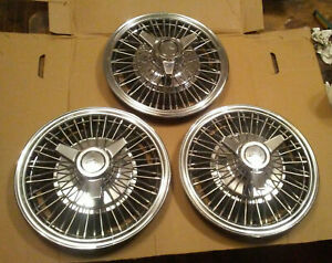 64 65 66 Chevy Bowtie Wire Spinner Wheel Covers Hubcaps Rare 13 Corvair Nova Ii