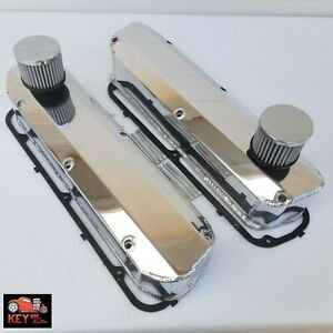 Small Block Ford Polished Fabricated Aluminum Valve Covers 289 302 351w Breather