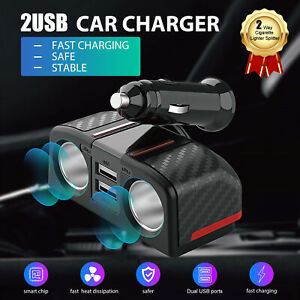 2 Way Car Cigarette Lighter Socket Splitter Dual Usb Charger Power Adapter 12 V