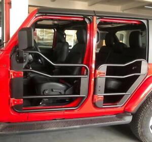 Military Steel Tube Door With Mirror Fit 18 21 Jeep Wrangler Jl 4dr Front rear