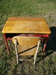 Vintage Child S School Desk With Chair Wood Metal
