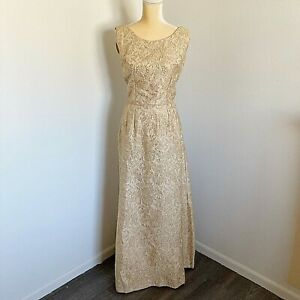 60 s Long Gold Form Fitting Dress Gown Beautiful Wedding Cocktail Formal Large