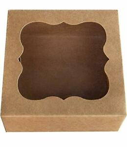 Brown Pie Cookie Boxes Small Natural Craft Paper Box With Pvc Window 6x6x3 25pcs