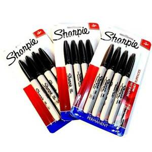 Sharpie Permanent Markers Fine Point Black Ink Markers Total 12