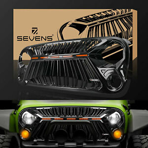 Front Grill Grille For Jeep Wrangler Jk jku 2007 2017 Thunder Fury 5 Leds Gloss
