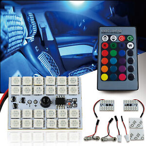 2x 8 color Led Panel Light 24rgb smd 5050 Interior Dome Map Bulbs Remote Control