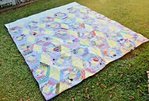 Antique Vintage Primitive Hand Sewn Feedsack Patchwork Quilt Coverlet 74 X 66