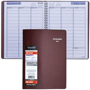 2022 At a glance Dayminder G520 14 Weekly Appointment Book 8x11 Burgundy Cover