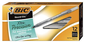 Bic Round Stic Ballpoint Pen 0 8 Mm Fine Tip Black Ink Pack Of 12