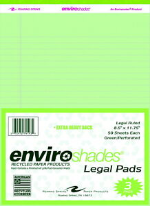Enviroshades Legal Pads 8 1 2 X 11 3 4 Inches Green 50 Sheets Pack Of 3
