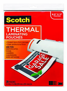 Scotch Thermal Laminating Pouch 8 9 10 X 11 2 5 Inches 3 Mil Thick Pack Of 20