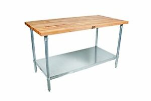 Maple Top Work Table With Galvanized Steel Base Adjustable Galvanized Shelf