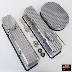 Small Block Chevy Tall Finned Aluminum Valve Covers Sbc Dress Up Kit 305 350 400